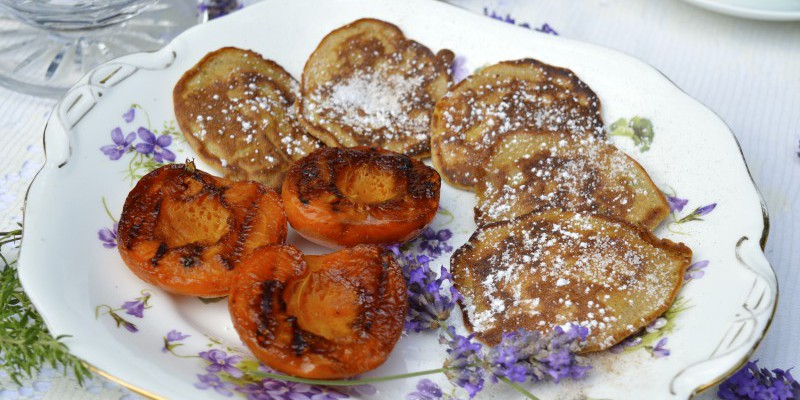 Apple pancakes and honey-griddled apricots