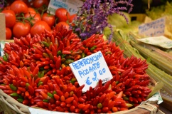 Spectacular chilli bundles at Venice's Rialto food market.