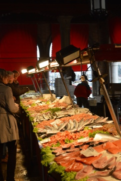 One of the many fish stalls at Venice's Rialto market.