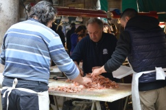 Fast and efficient hand-sorting of shellfish at the Rialto Market, Venice,