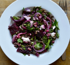 Puy lentil, beetroot and roasted feta salad - recipe for the Borough Market Cookbook Club.