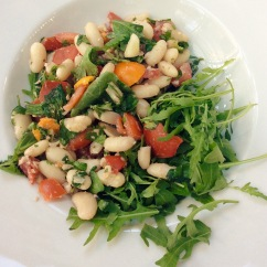 Warmed cannellini beans with walnut aillade and tomatoes - for Borough Market recipe and demonstration.
