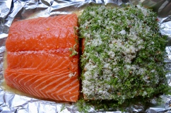 Salmon fillet halved and with its cure of salt, sugar, bourbon, coriander seeds, and dill - part of Borough Market 'Preservation Society' series: http://boroughmarket.org.uk/articles/preservation-society-salt-cures